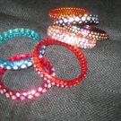 Adult 3 Row Purple Crystal Bangle Bracelets