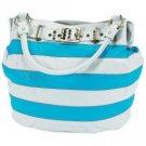 Gigi Chantal™ Blue and White Stripe Bucket Style Handbag