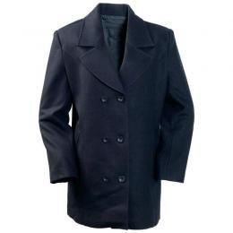 Ladies' Wool Blend Navy Blue Pea Coat (Medium)