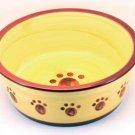 Designer Stoneware Classic Paw Print Dog Dish 8&
