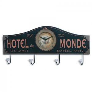 Hotel Du Monde Wall Clock And Coat Rack 35163