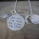 Hand Stamped Sun, Moon and Stars Personalized Necklace