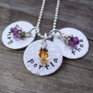 Hand Stamped Triple Name Charm Necklace