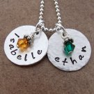 Hand Stamped Two Disk Sterling Silver Birthstone Necklace ~ Hammered Finish
