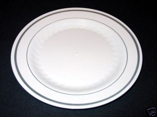 "Masterpiece White/ Silver 6"" Plastic Party Plate 15ct."
