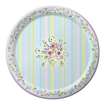"""Happy Birthday Floral Vogue 10"""" Dinner Paper Plate"""