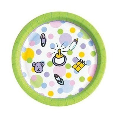 """New Baby Shower 7"""" Paper Party Plates 8ct."""