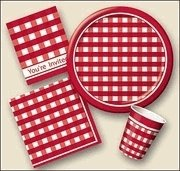 Picnic Plaid Red Gingham 9oz. Paper Hot / Cold Cup 8ct.