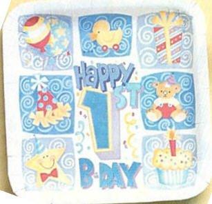 "Happy 1st Birthday Boys 9"" Paper Plates 8ct."