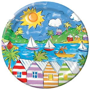 "Calypso Sailboat Summer 9"" Paper Party Plate 10ct."