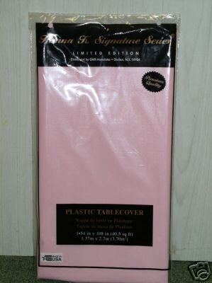 "Pink  84"" Round Plastic Disposable Party Tablecovers"