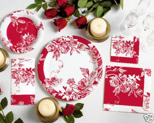 Red Rose Floral Linen Like Dinner Napkins 12ct.