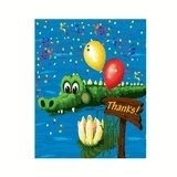 Swamp Party Alligator Birthday Thank You Cards 8ct.