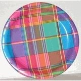 """Summer Madras 7"""" Paper Party Plate 10ct."""