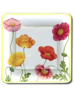"Poppies Floral 10"" Dinner Square Paper Party Plates"