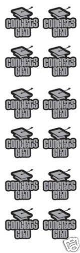 Congrats Graduation Stickers Black / Silver 4 Sheets