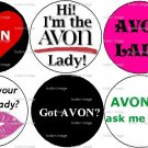 Lot Set 6 * AVON LADY * Pinback Buttons 1.25""