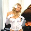 Satin strapless corset with boning- hook and eye front- Venice trim and lace up back.