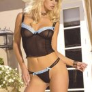 Mesh cami top with lace trim and satin ties at the bodice.