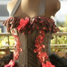 Alice In Wonderland RED BLACK Burlesque Showgirl Corset Costume ALL SIZES