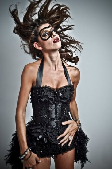 BLACK SWAN feather corset costume -Burlesque Circus- with MINI TOP HAT!