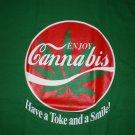 Enjoy Cannabis T-shirt Grn/Red New!