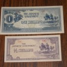 Japanese Shilling note half and one Vintage Money