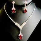 5 Sets! Red Rhinestone Drop Bridesmaid Wedding Jewelry