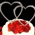 LARGE DOUBLE HEART SILVER CRYSTAL WEDDING CAKE TOPPER