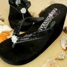 New! Black Wedge Flip Flops with Sequins! Prom Wedding