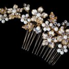 ELEGANT GOLD Plated CRYSTAL AND PEARL Floral Bridal Comb