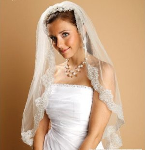 White Mantilla Wedding Veil by Mariell