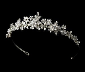 NEW! FLORAL GARDEN SILVER BRIDAL TIARA With PEARLS!
