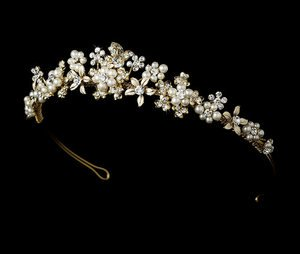 FLORAL GARDEN GOLD Plated BRIDAL Wedding TIARA With PEARLS!