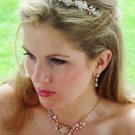 SWAROVSKI CRYSTAL Gold Plated COUTURE JEWELRY and  TIARA NECKLACE SET