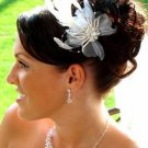 WHITE  FEATHER BRIDAL FASCINATOR CRYSTAL COMB!