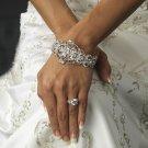 Vintage Romance Crystal Rhinestone Bridal or Prom Wedding Bracelet Cuff