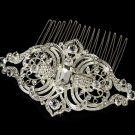 Vintage Inspired Silver Plated Rhinestone Bridal Wedding Hair Comb