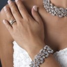 NEW Silver Plated Vine Rhinestone Bridal Stretch Bracelet!