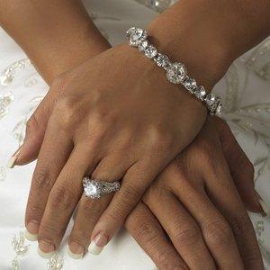 Silver Plated Crystal Bridal Stretch Wedding Bracelet!