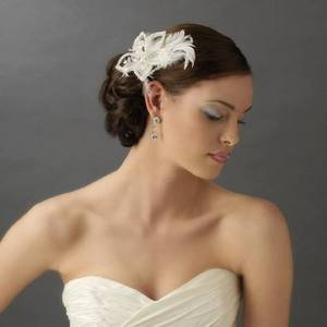 NEW! White Feather Fascinator Silver & Crystal Accents