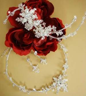 Stunning Crystal Silver Plated Wedding Jewelry Set and Bridal Comb