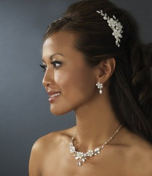 Floral Frosted Crystal Bridal Comb and Wedding Jewelry Set