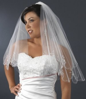 BEADED WHITE TWO TIER ELBOW BRIDAL WEDDING VEIL