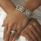 Silver Crystal Rhinestone Bridal Bracelet Cuff!