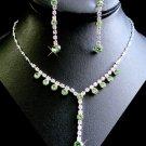 5 Sets Peridot Green Rhinestone Bridesmaid Jewelry Sets