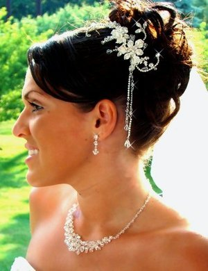 NEW! CRYSTAL SILVERPlated FLORAL BRIDAL COMB WITH Crystal DANGLES!