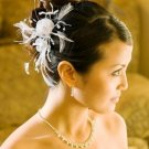 WHITE WEDDING FEATHER FASCINATOR with CRYSTAL ACCENTS!