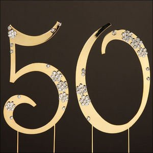 14K Gold 50th Golden Anniversary Cake Topper with Crystals