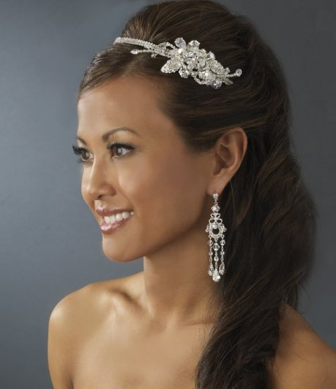 Dazzling Crystal & Rhinestone Wedding Prom Side Accent Bridal Headband Tiara